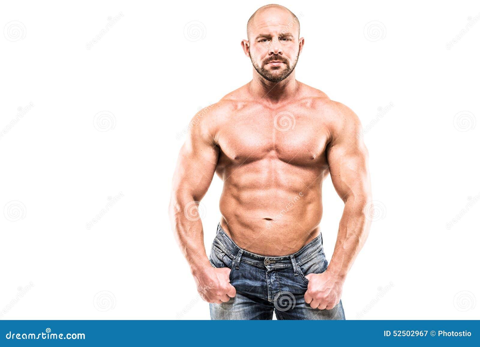 bodybuilder isolated on white background stock image