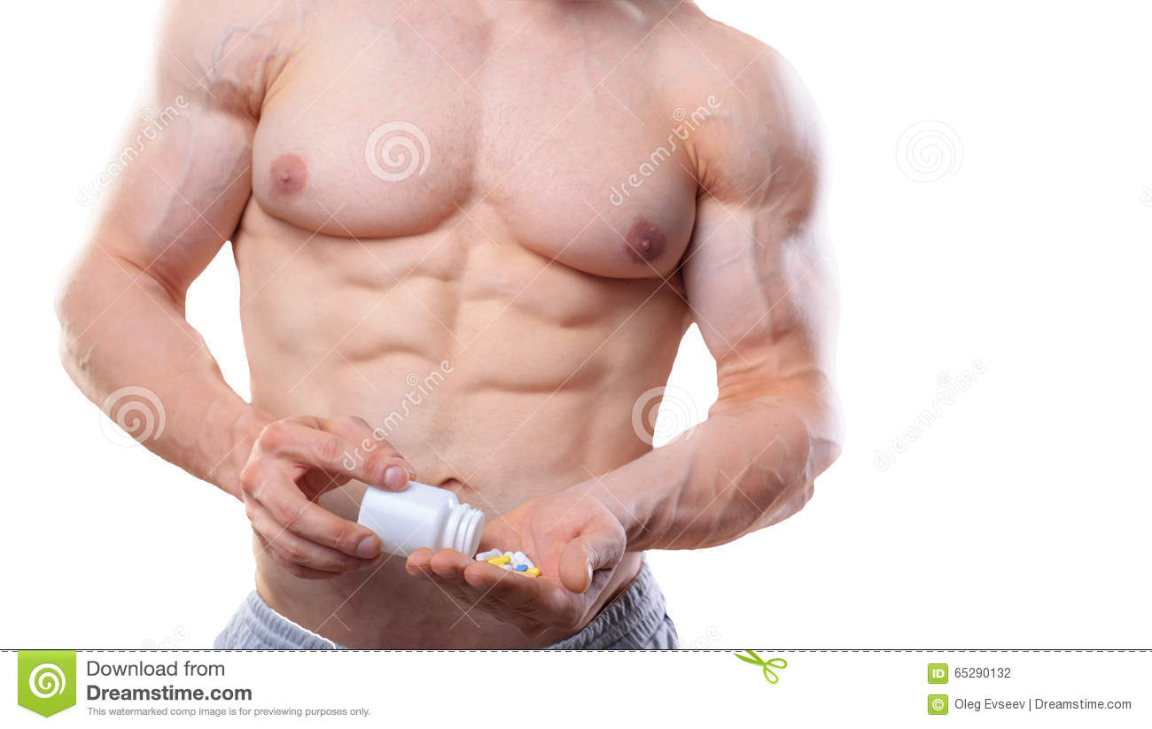 Bodybuilder With Jar And Pills On Isolated White
