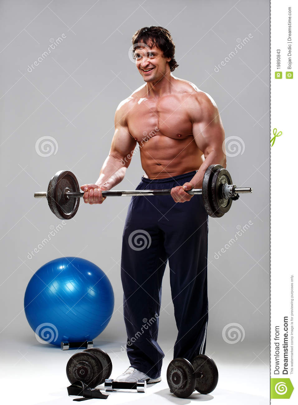Bodybuilder Lifting Weights Stock Image - Image: 22721603