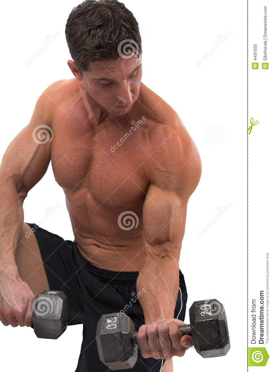 Muscular Man Lifting Weights Over Dark Background Stock