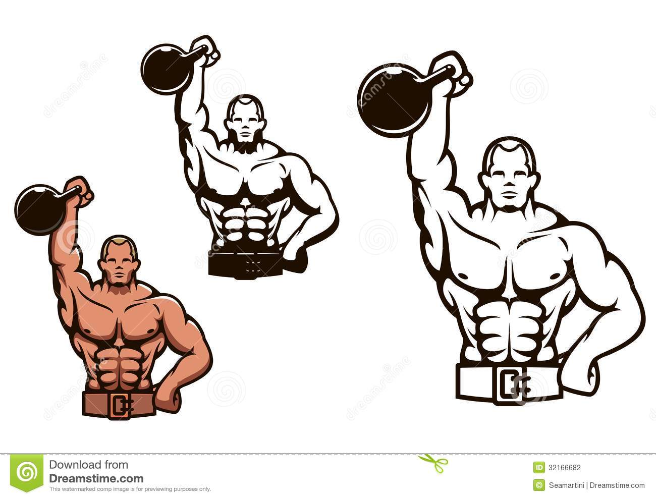 Bodybuilder man with dumbbell stock photography image - Cartoon body builder ...