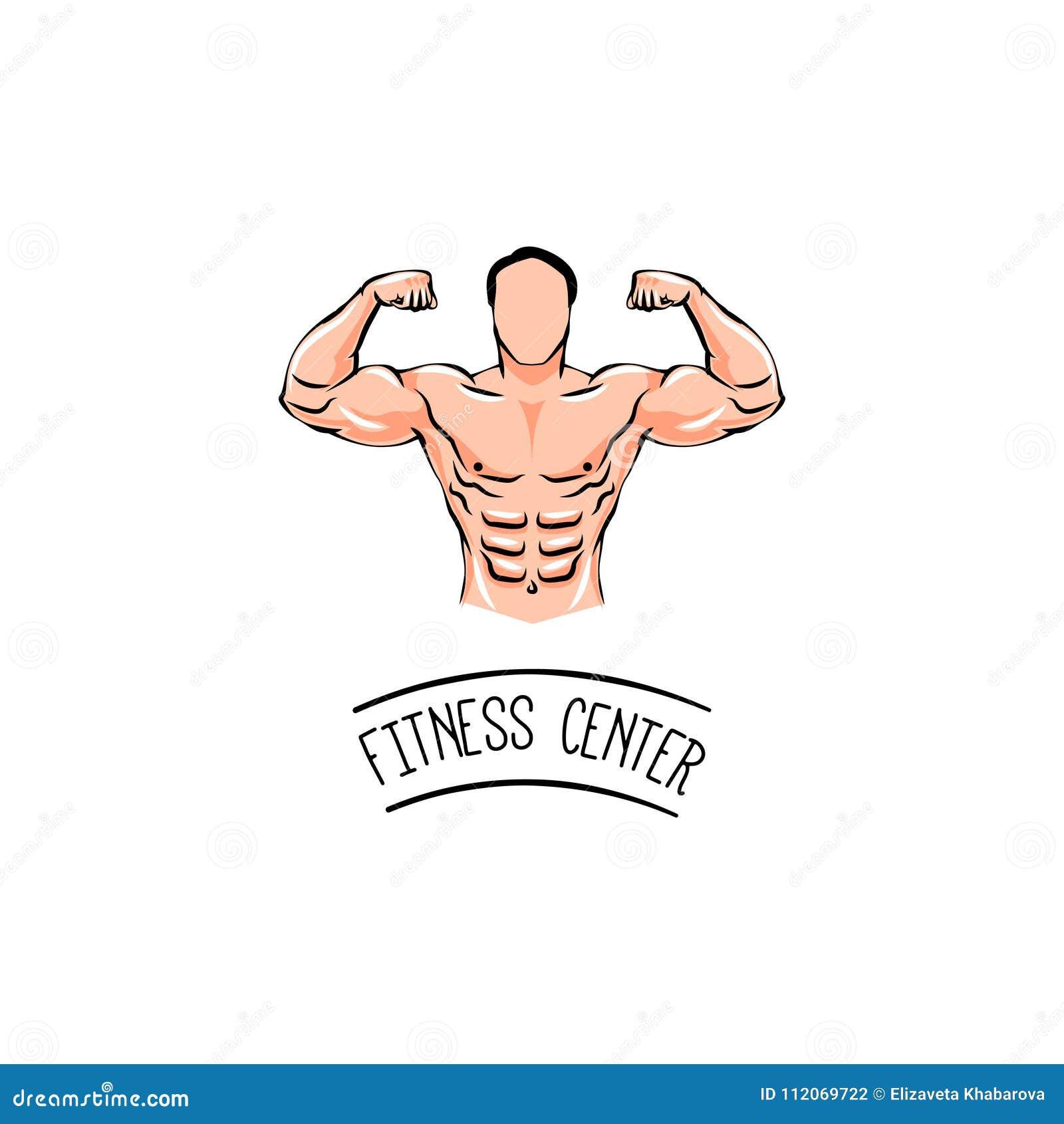 Bodybuilder met een snor Mens met spieren Fietsen en ander geschiktheidsmateriaal in gymnastiek Vector illustratie