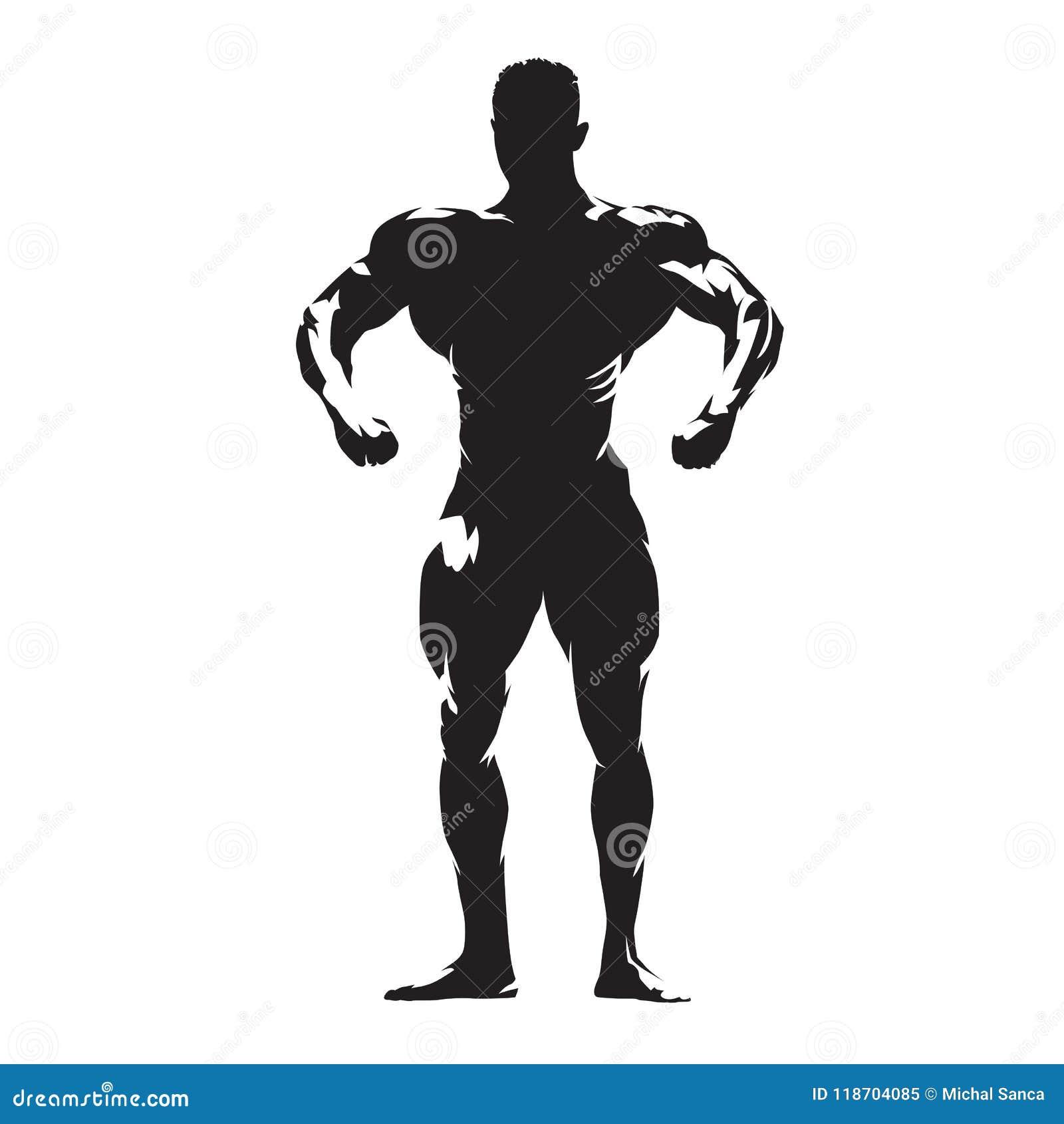Bodybuilder met grote spieren die, geïsoleerd vectorsilhouet stellen