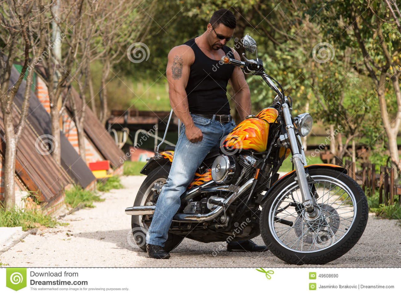 Bodybuilder And Motorcycle Stock Photo Image 49608690