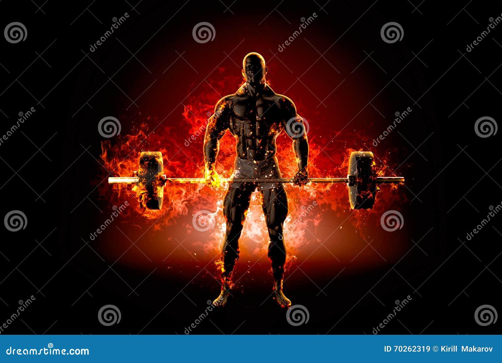 Bodybuilder musculaire avec le barbell Le feu éclatent le concept illu 3d
