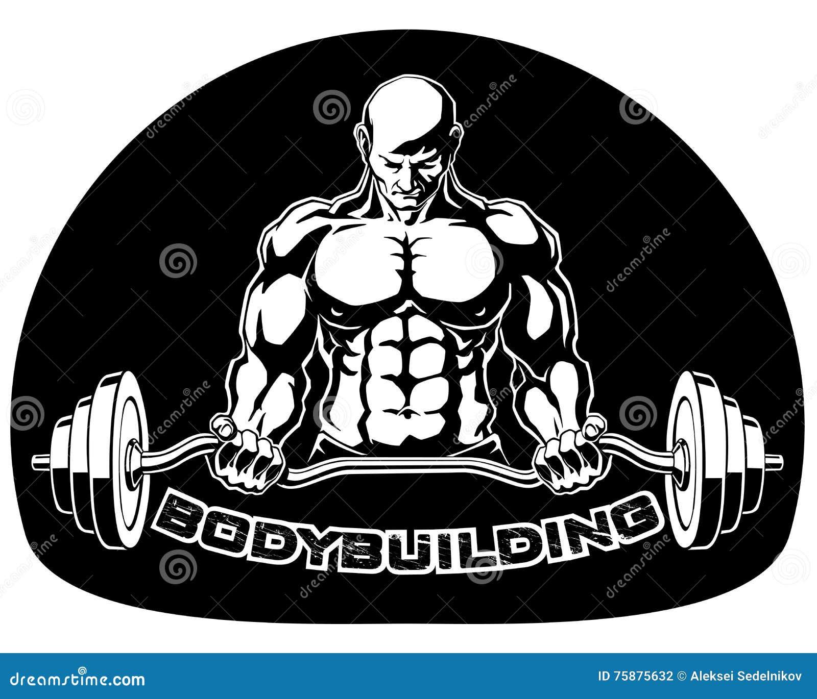 Bodybuilder naciska barbell wektoru ilustrację