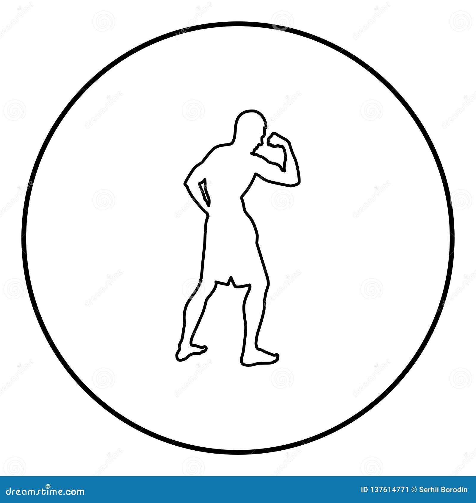 Bodybuilder pokazuje bicepsów mięśni sporta pojęcia Bodybuilding sylwetce bocznego widoku ikonę czerni kolor ilustrację w okręgu