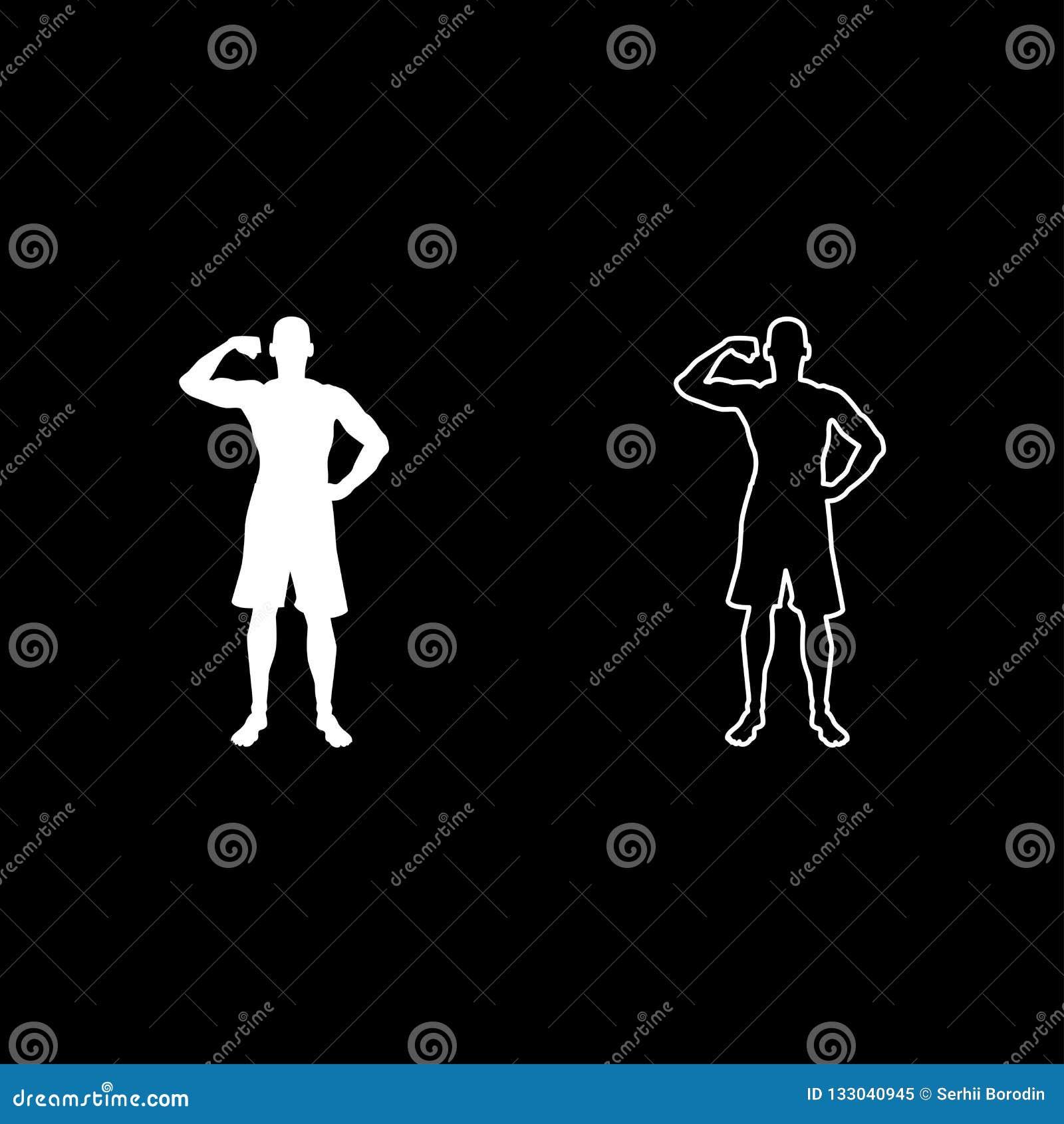 Bodybuilder pokazuje bicepsów mięśni sporta pojęcia Bodybuilding sylwetce frontowego widoku ikonę ustalony biały kolor ilustracji