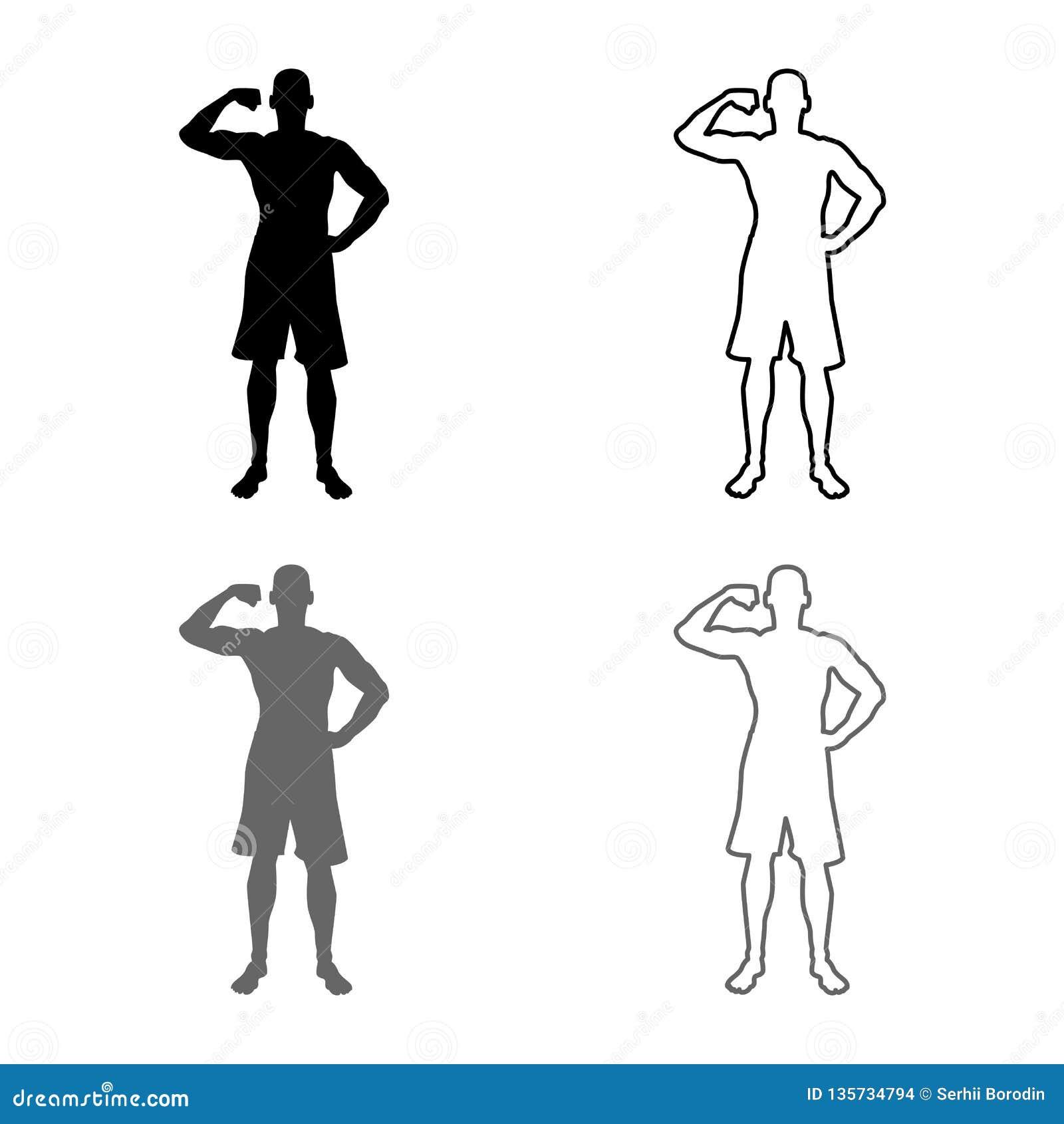 Bodybuilder pokazuje bicepsów mięśni sporta pojęcia Bodybuilding sylwetce frontowego widoku ikony set popielata czarna kolor ilus