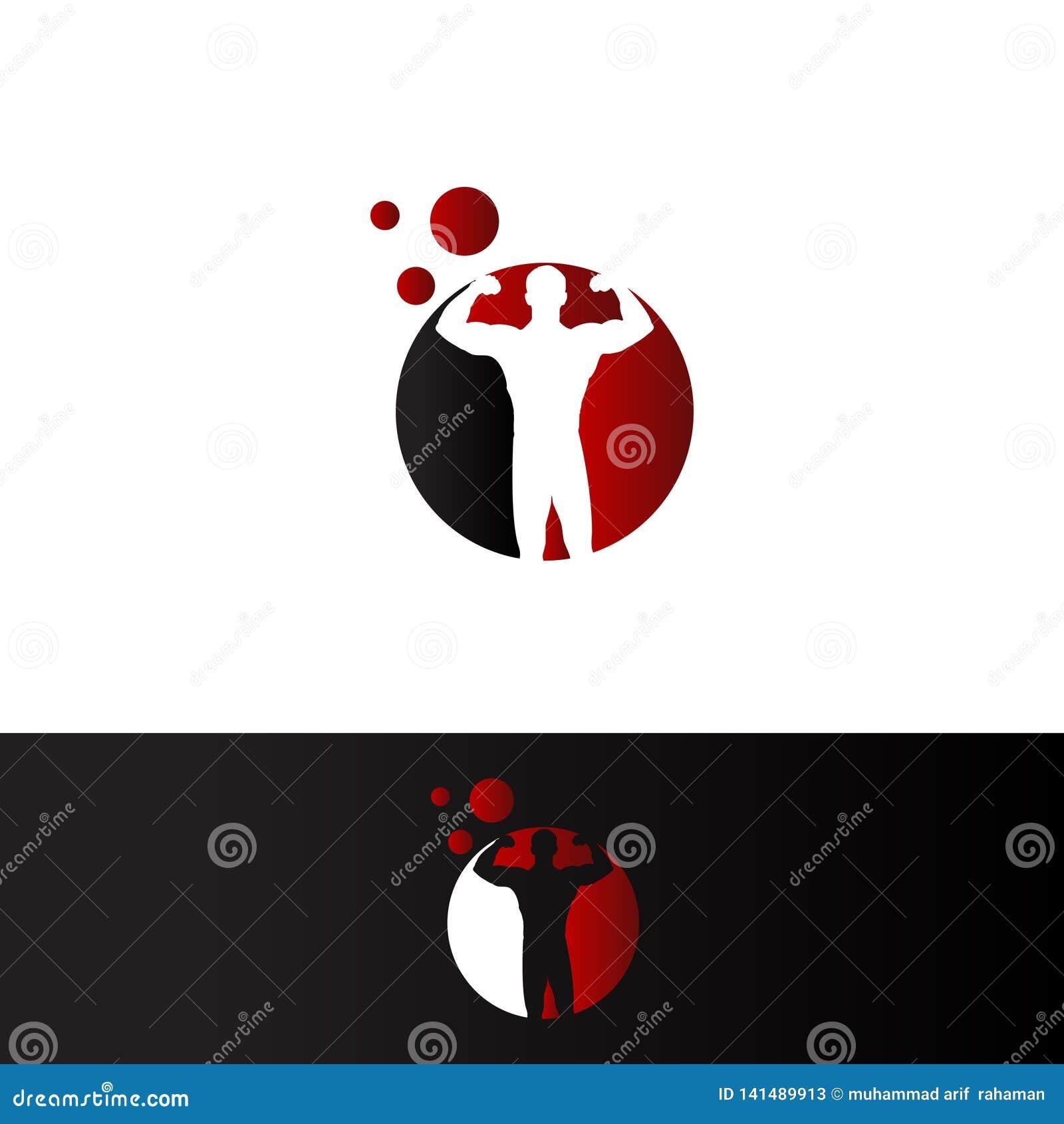 Bodybuilder in red cirle negative space Logo Template.