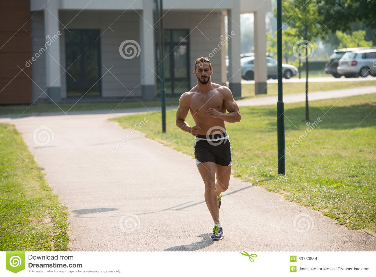 Bodybuilder Running Outdoors Trying Weight Loss Stock ...