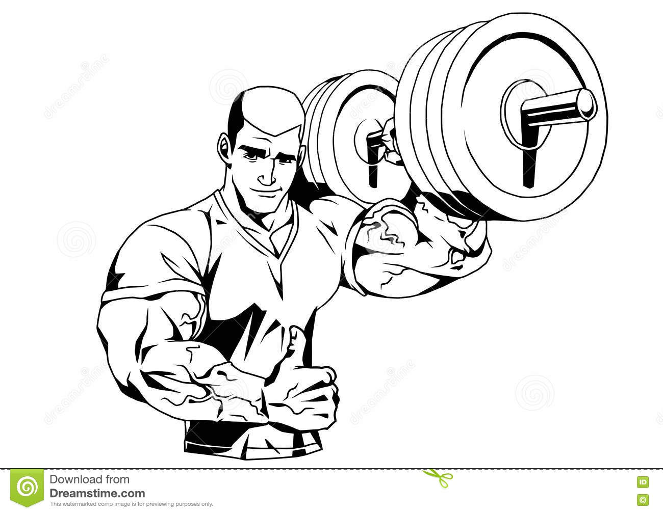 Bodybuilder In T Shirt And Barbell