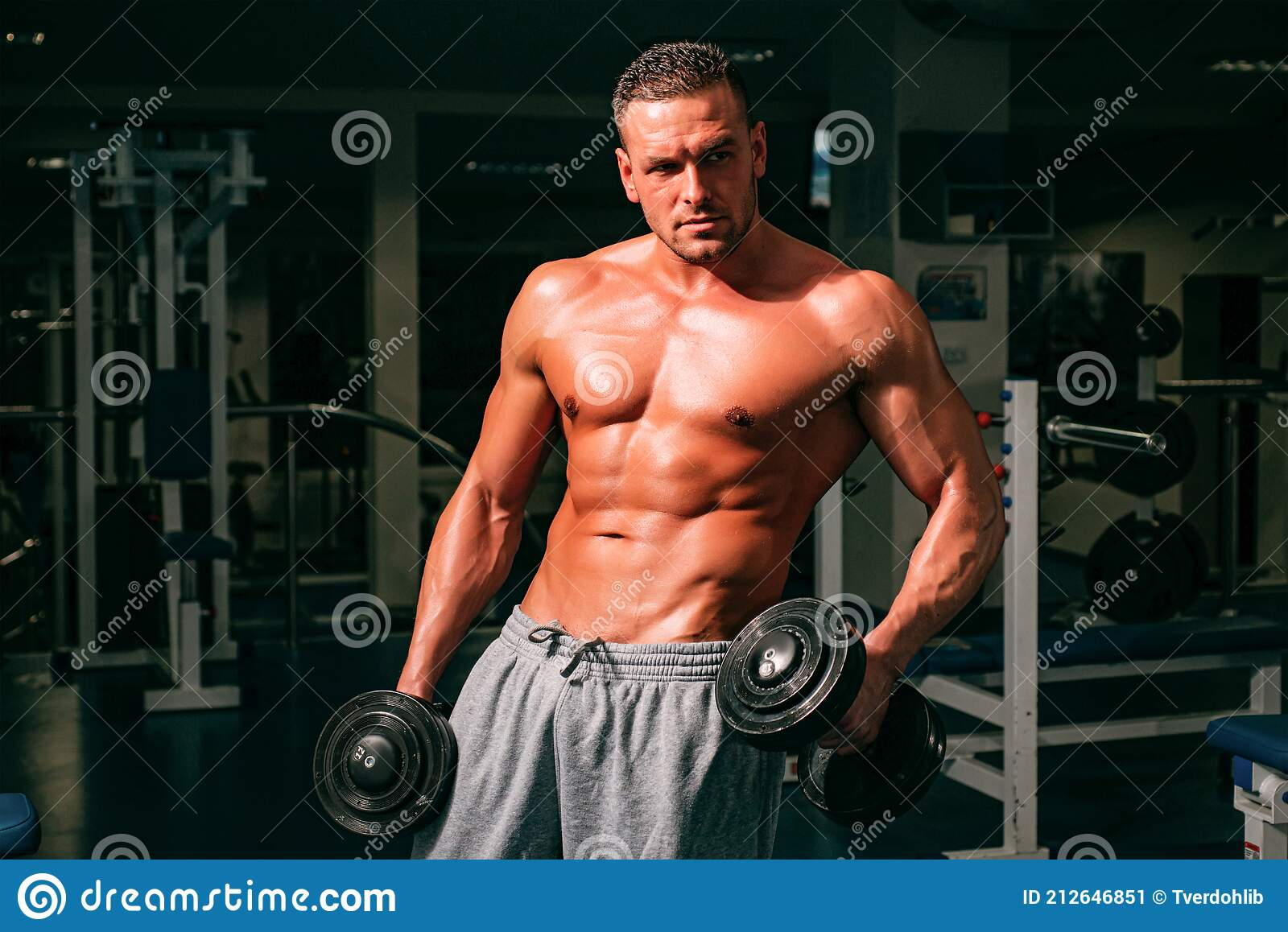 Naked athletic body Bodybuilder Training With Dumbbells Sportsman With Naked Torso Sporty Workout Athletic Body Stock Image Image Of Exercising Strength 212646851