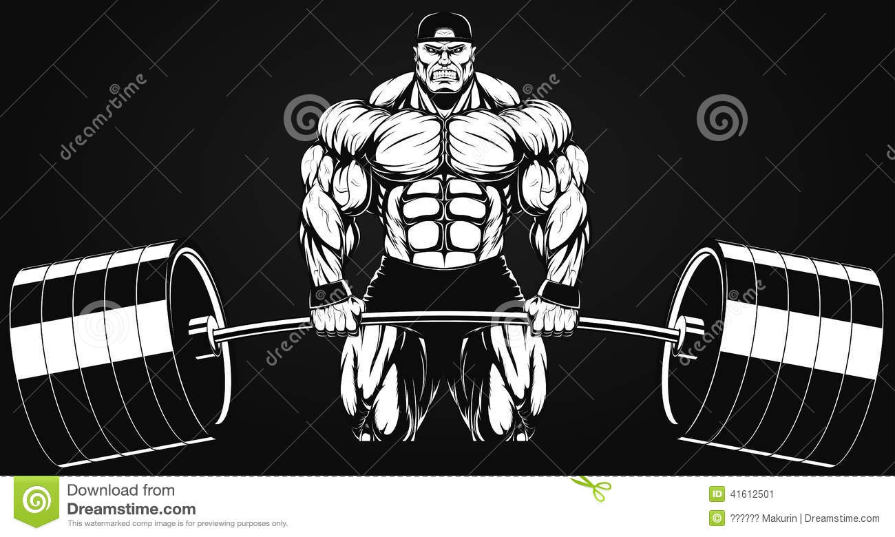 Bodybuilder z barbell