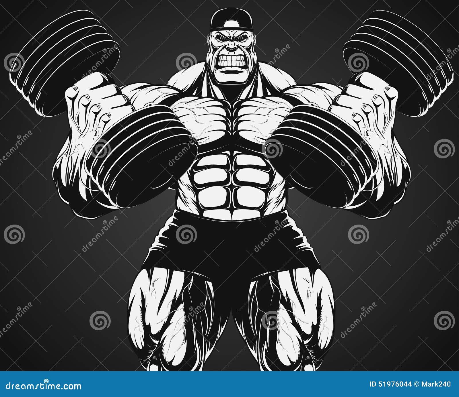 Bodybuilder z dumbbell