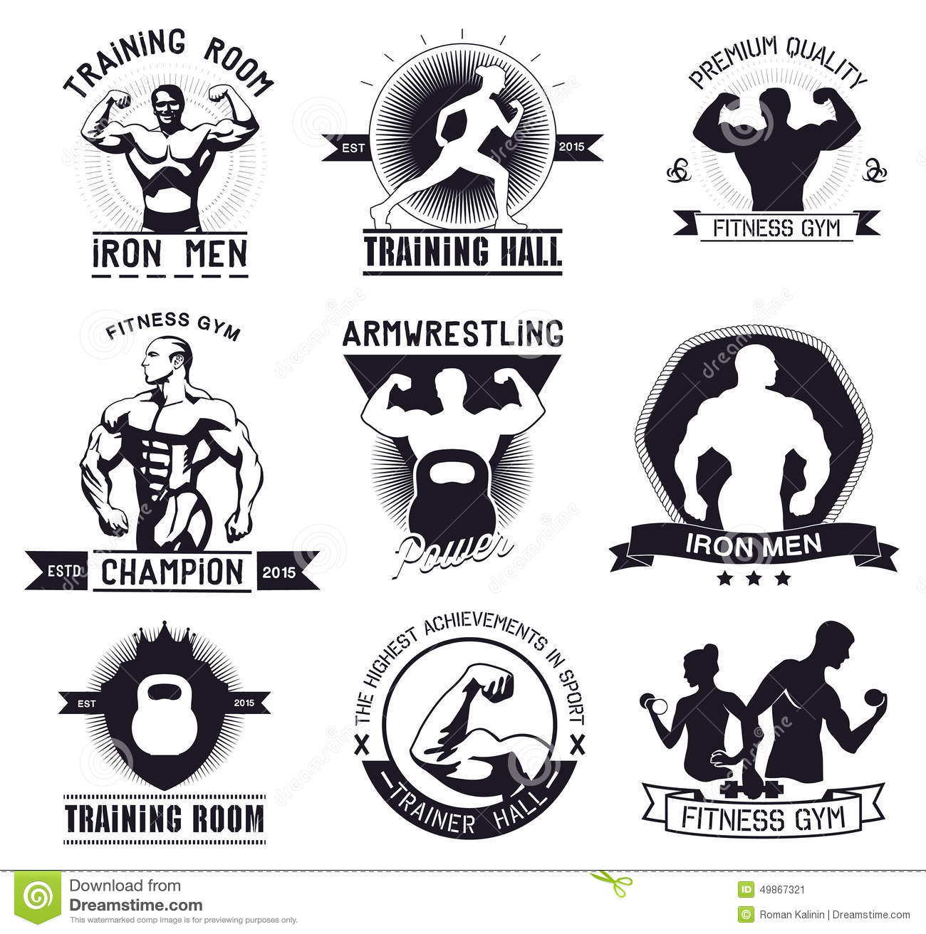 Bodybuilding And Fitness Gym Logos And Emblems Stock