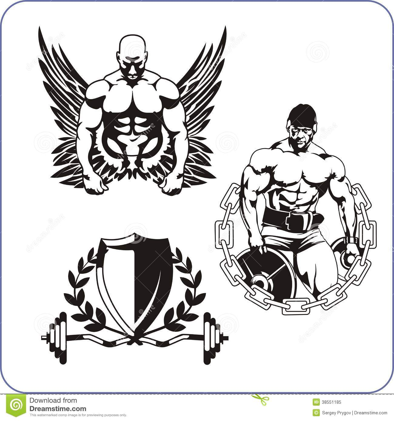 Bodybuilding And Fitness Vector Illustration Royalty