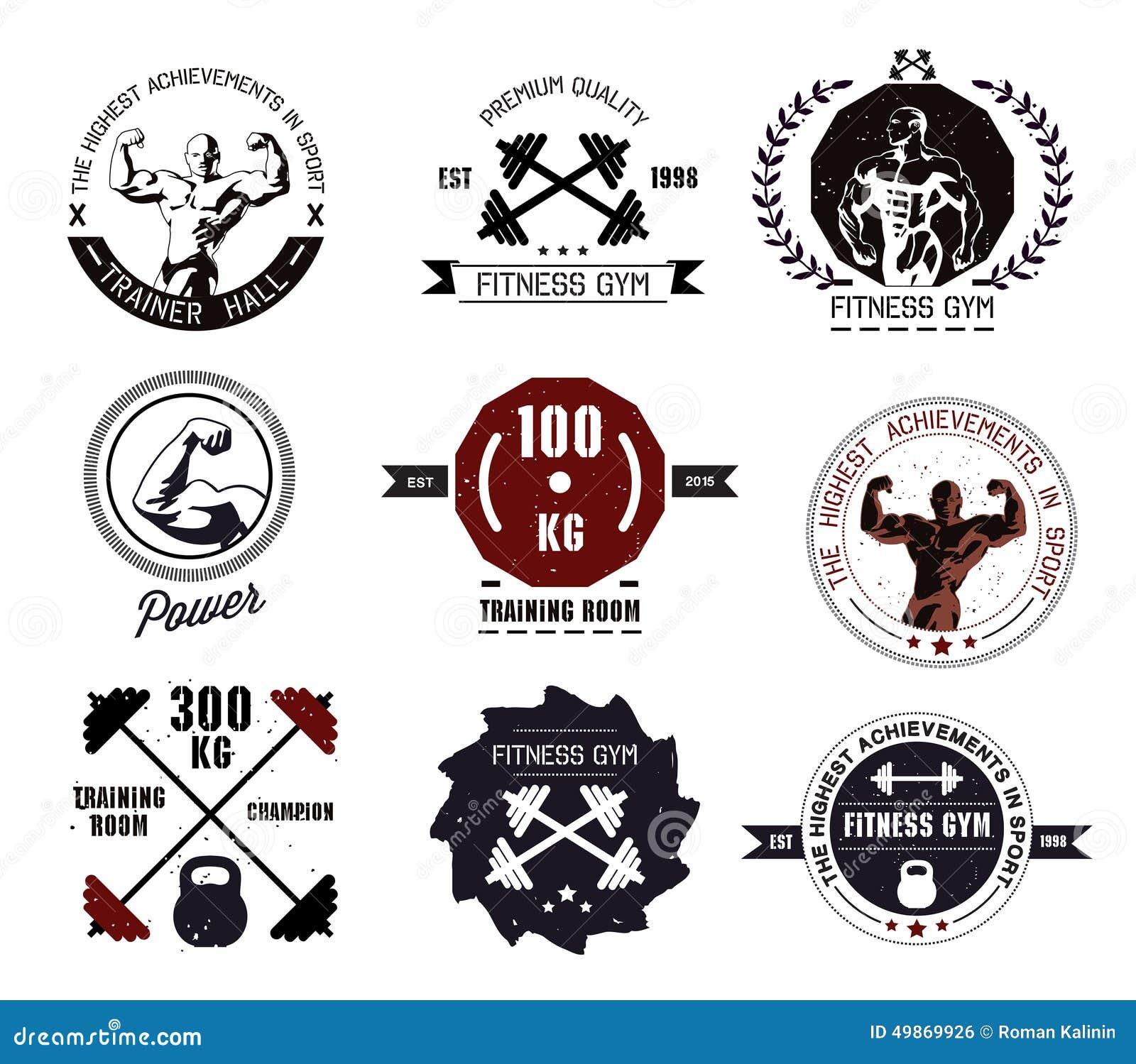 Bodybuilding i sprawności fizycznej gym emblematy i logowie