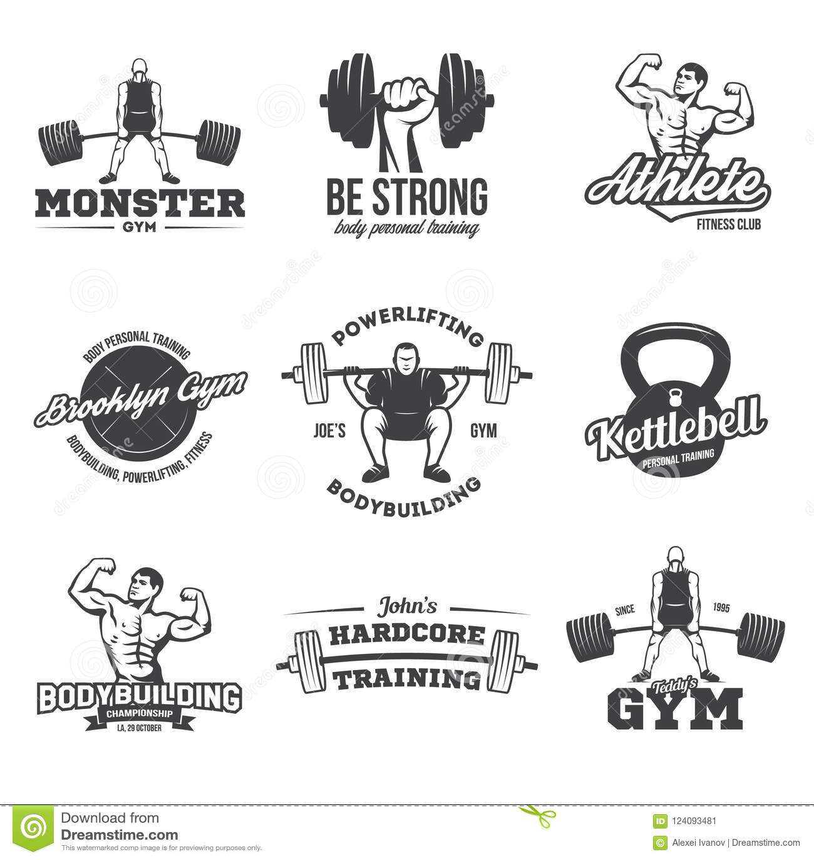 Bodybuilding, powerlifting, kettlebell, treningów logotypy podpisuje symbole Sprawność fizyczna logów emblematów projekta element