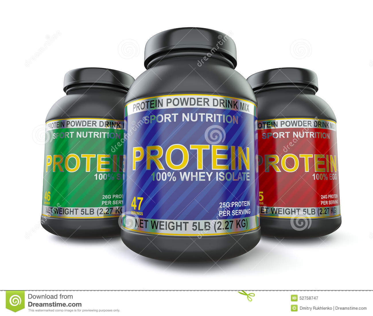 Bodybuilding Protein Supplements Isolated On White Stock ...
