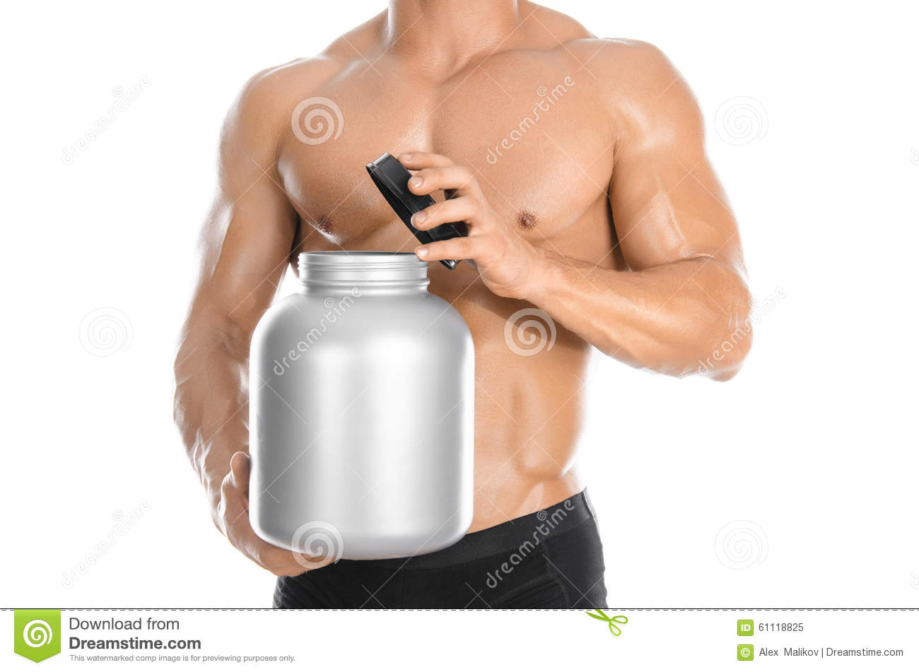 Bodybuilding and Sports theme: handsome strong bodybuilder holding a plastic jar with a dry protein and showing gesture isolated o