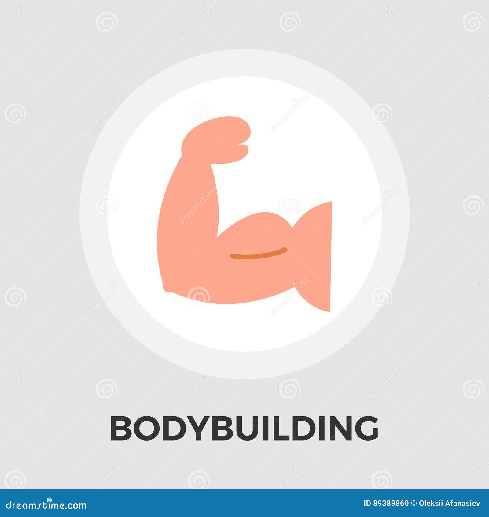 Bodybuilding-Vektor-flache Ikone