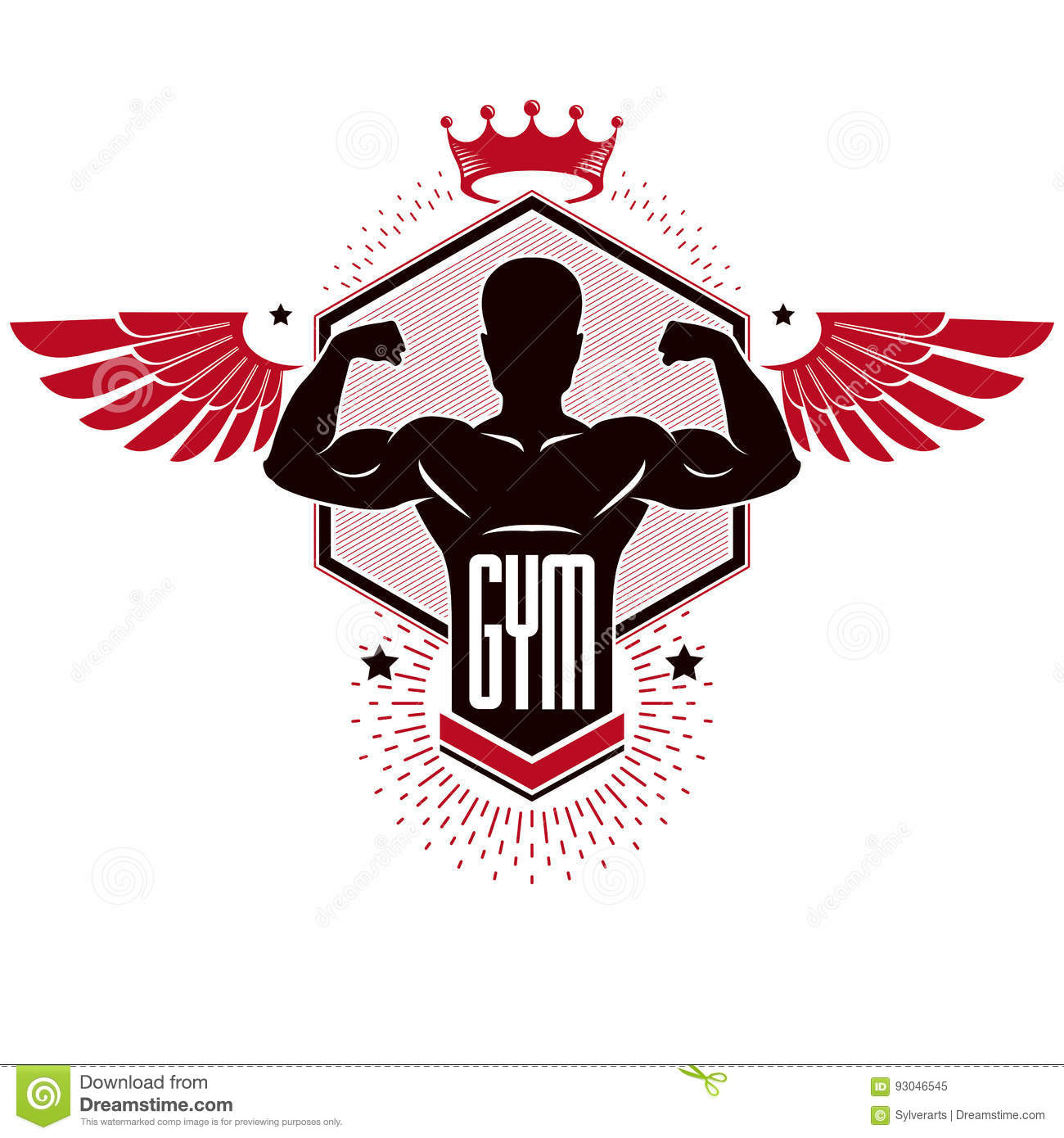 Bodybuilding weightlifting gym logotypu sporta klub, retro styliz