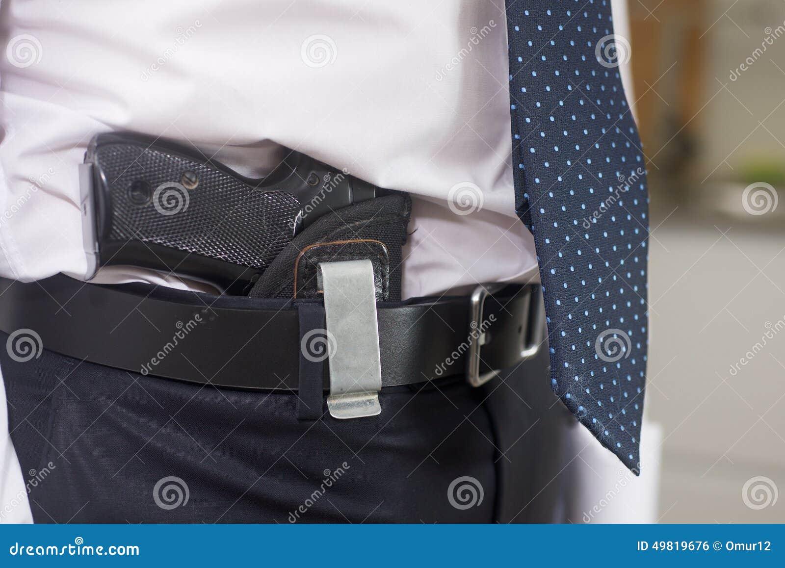 Bodyguard with gun stock photo. Image of male, mafia - 49819676