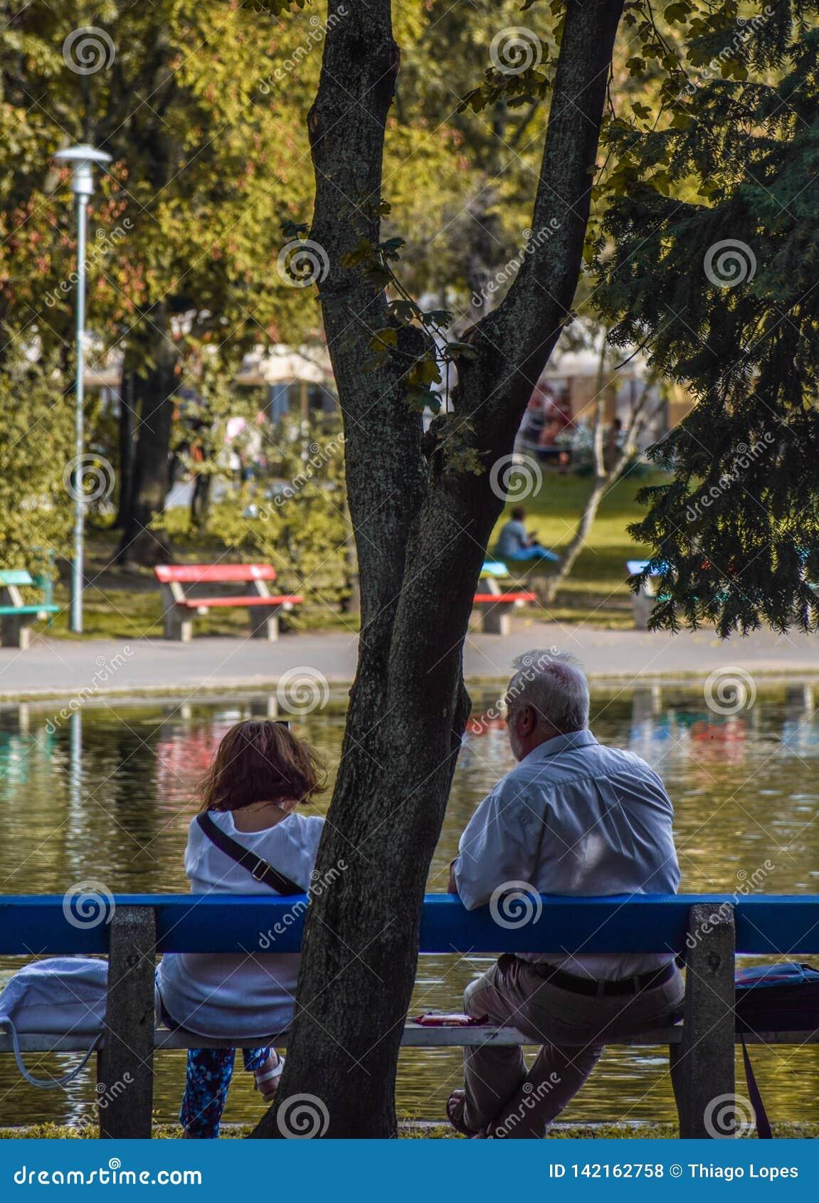Boedapest, Hongarije, 13 September, 2019 - Bejaard paar die van de dag voor een meer genieten bij varolisgetpark