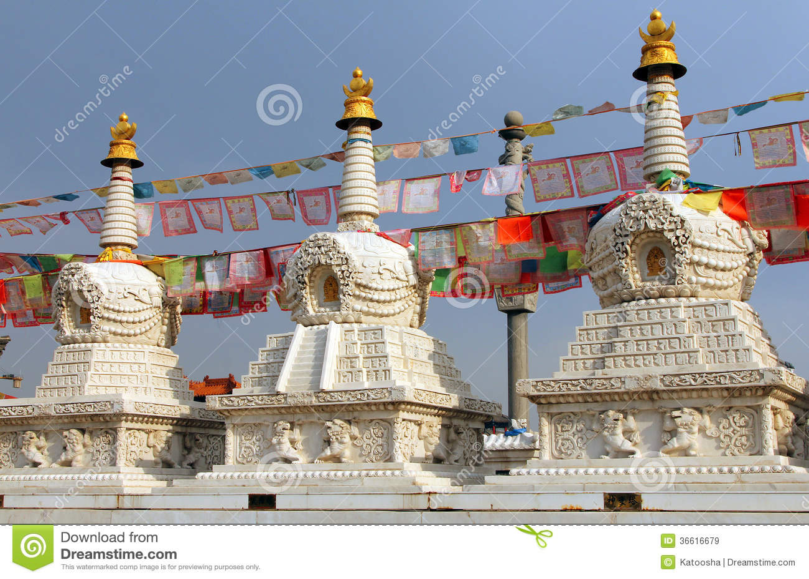 Boeddhistische stupas dichtbij Dazhao-Klooster in Hohhot, Binnenmongolië