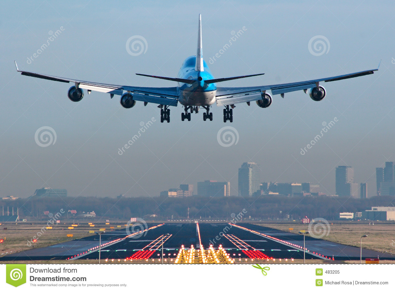 Boeing 747 airplane about to touchdown