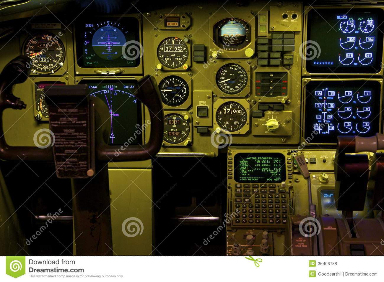 Boeing 757 Cockpit stock photo  Image of engine, aircraft - 35406788