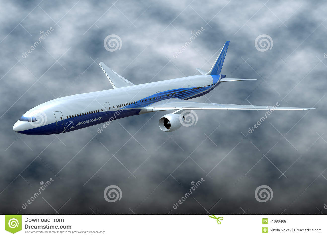 Boeing 777-300ER Comercial Aircraft Editorial Stock Photo