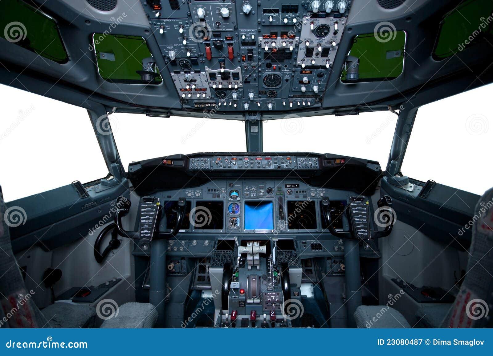 Boeing interior, cockpit view