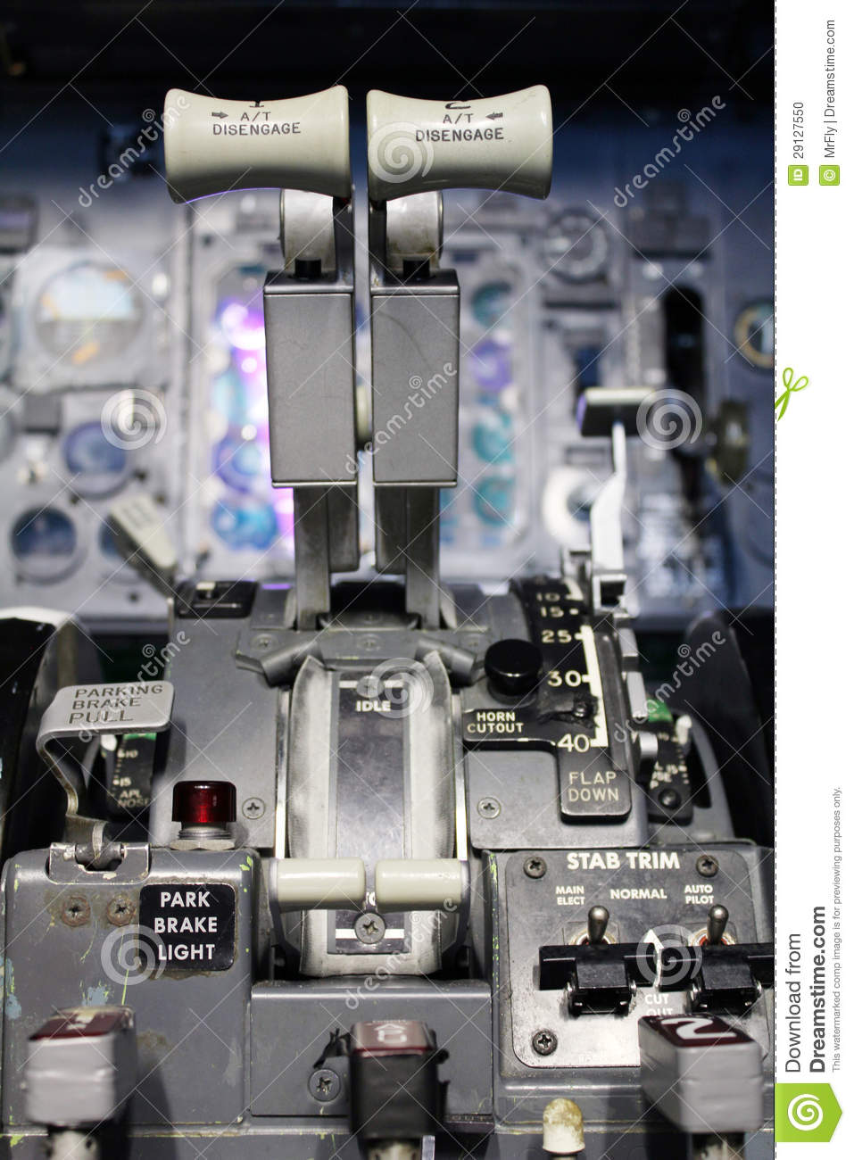 Boeing Thrust Levers Stock Photo Image Of Pjedestal