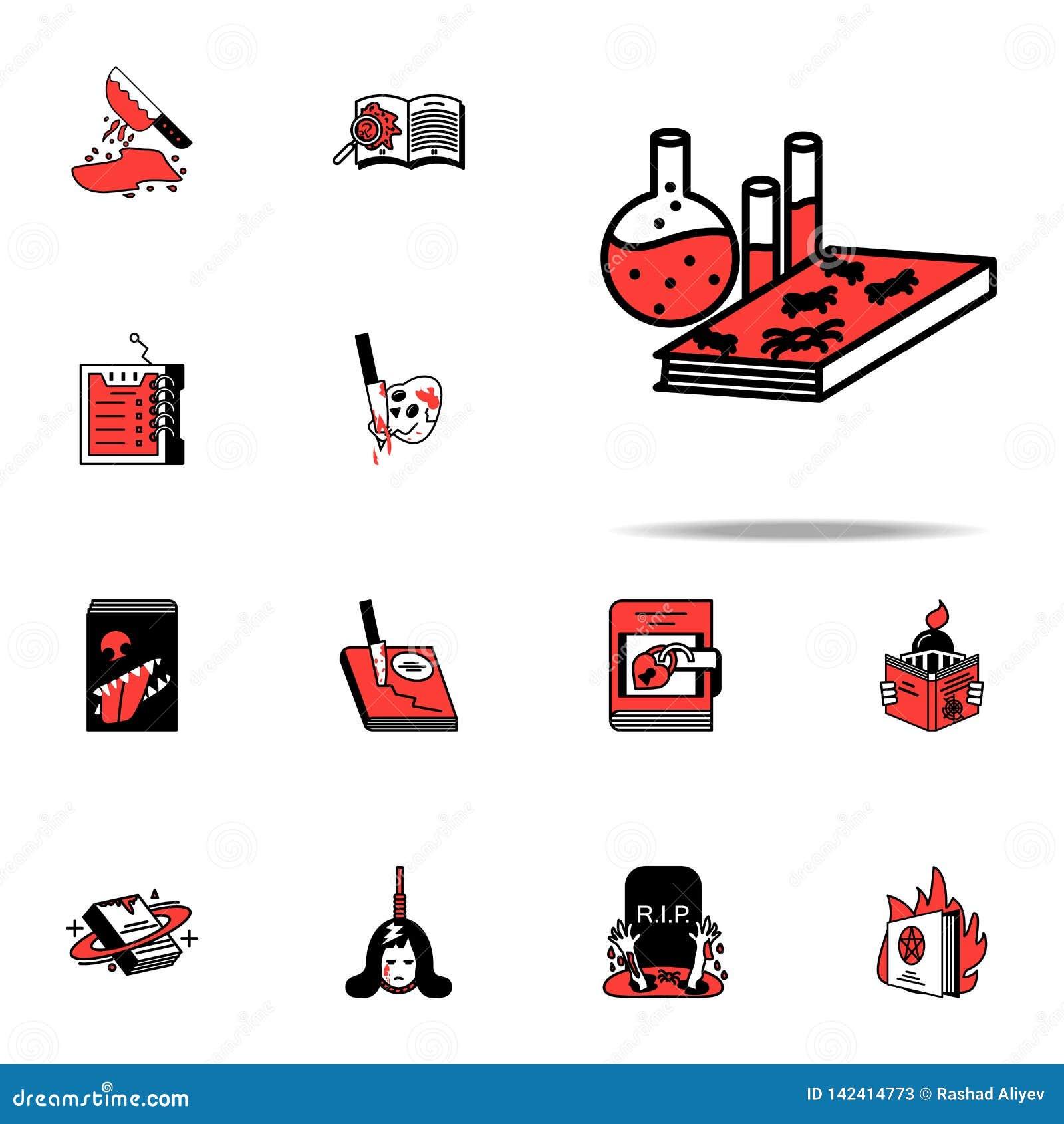 Boek, chemie, literair pictogram Het literaire die voor Web wordt geplaatst en mobiele algemene begrip van genrespictogrammen