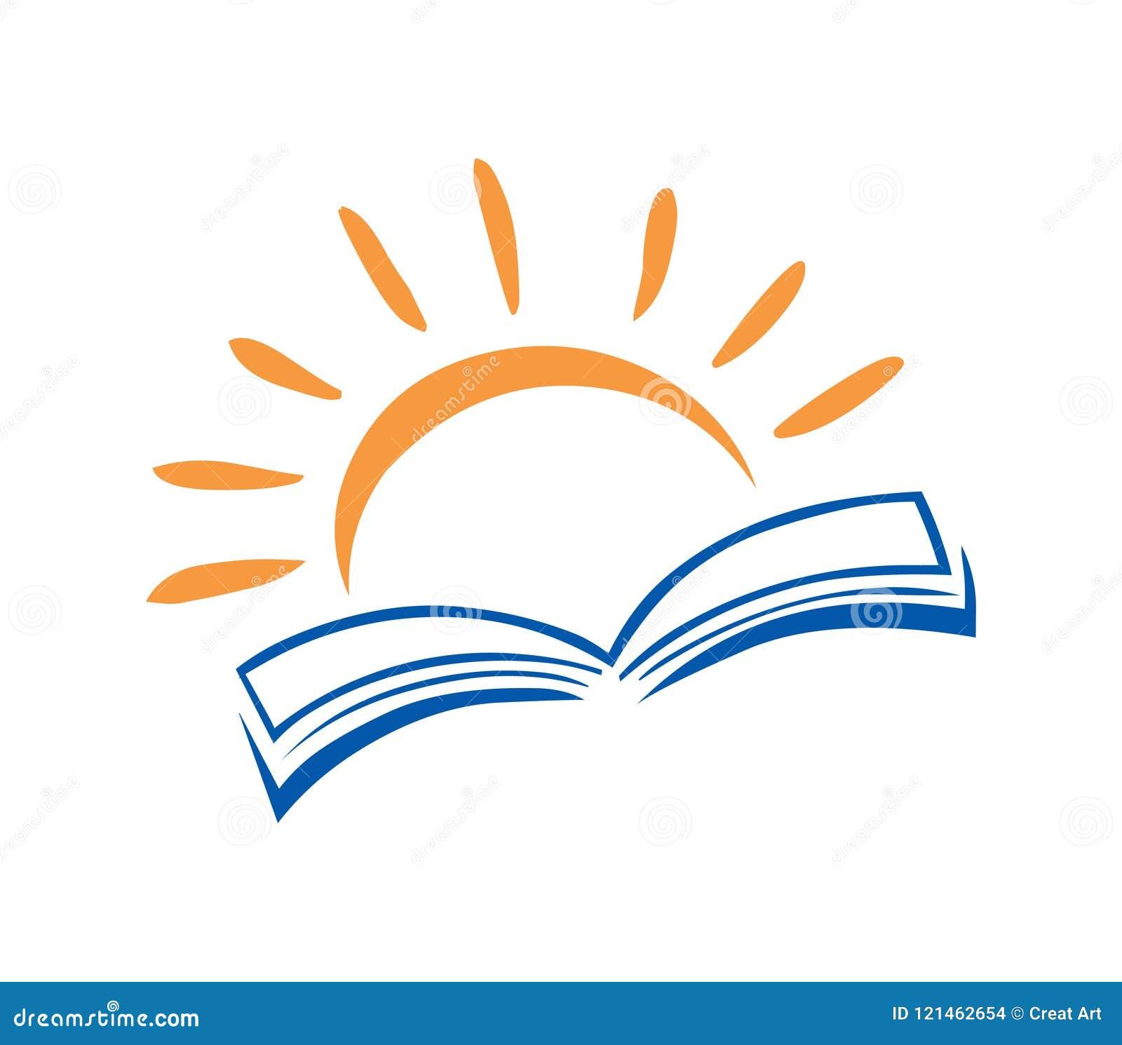 Boek en zon de vector van het embleempictogram Onderwijsembleem