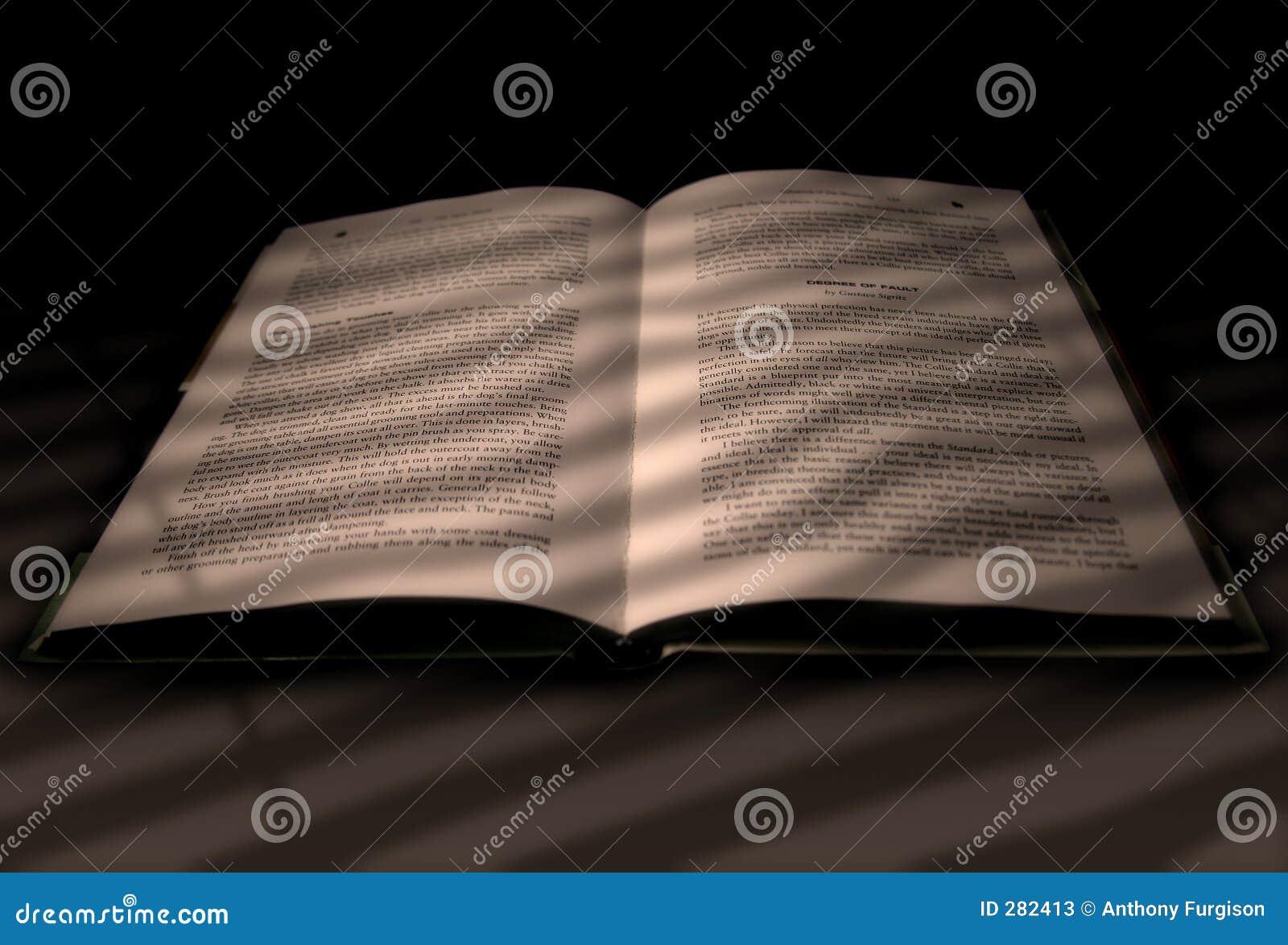 Boek in het licht van een venster