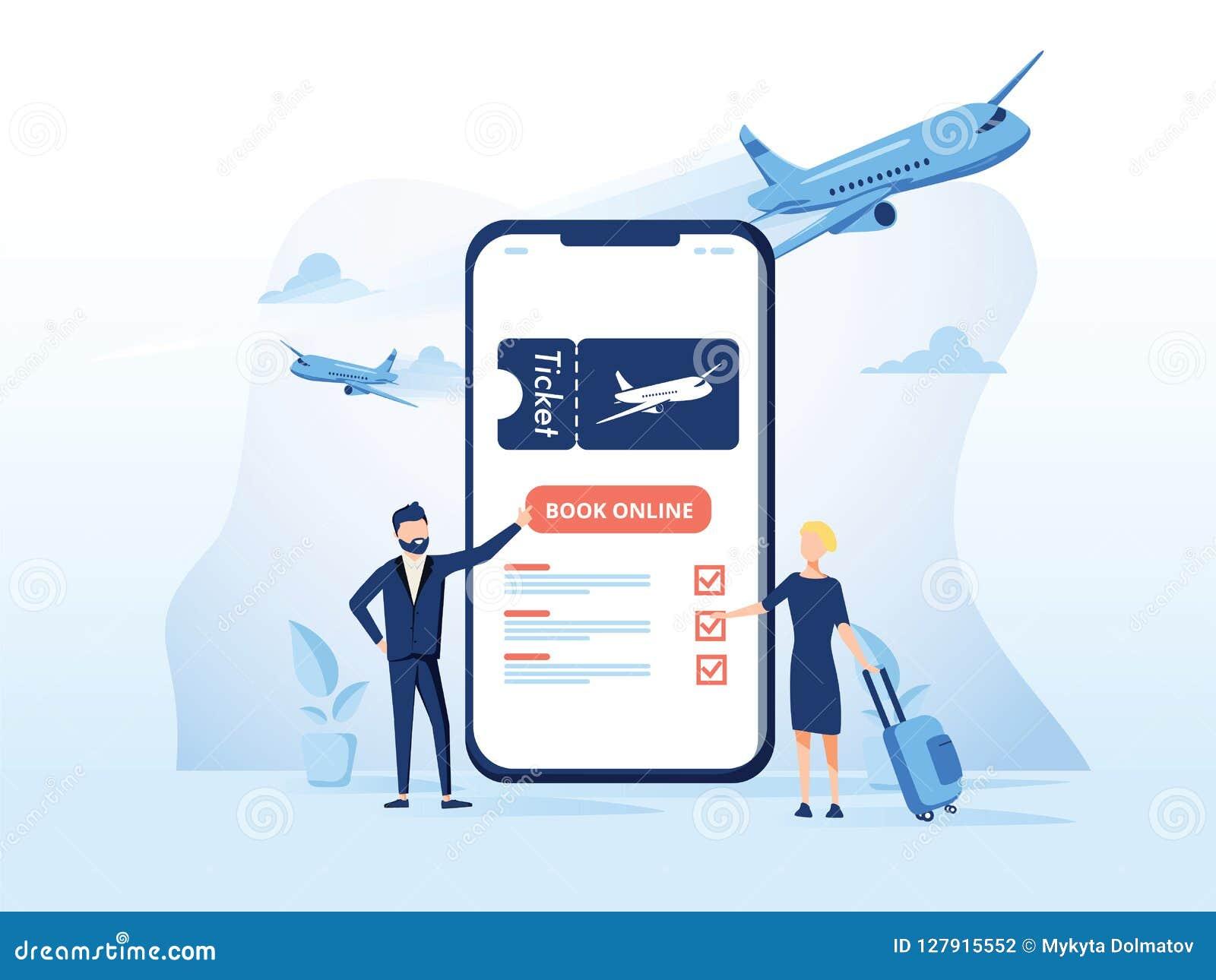 Boek uw vluchtconcept voor toepassing of landende pagina modern
