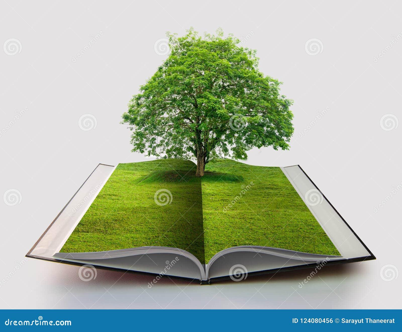 Boek van aard op wit open boek in document recyclingsconcept 3d het teruggeven boek van aard met gras en boom de groei die op het