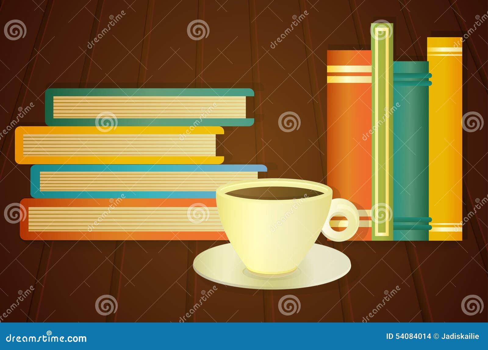 Boeken en kop van koffie op de lijst