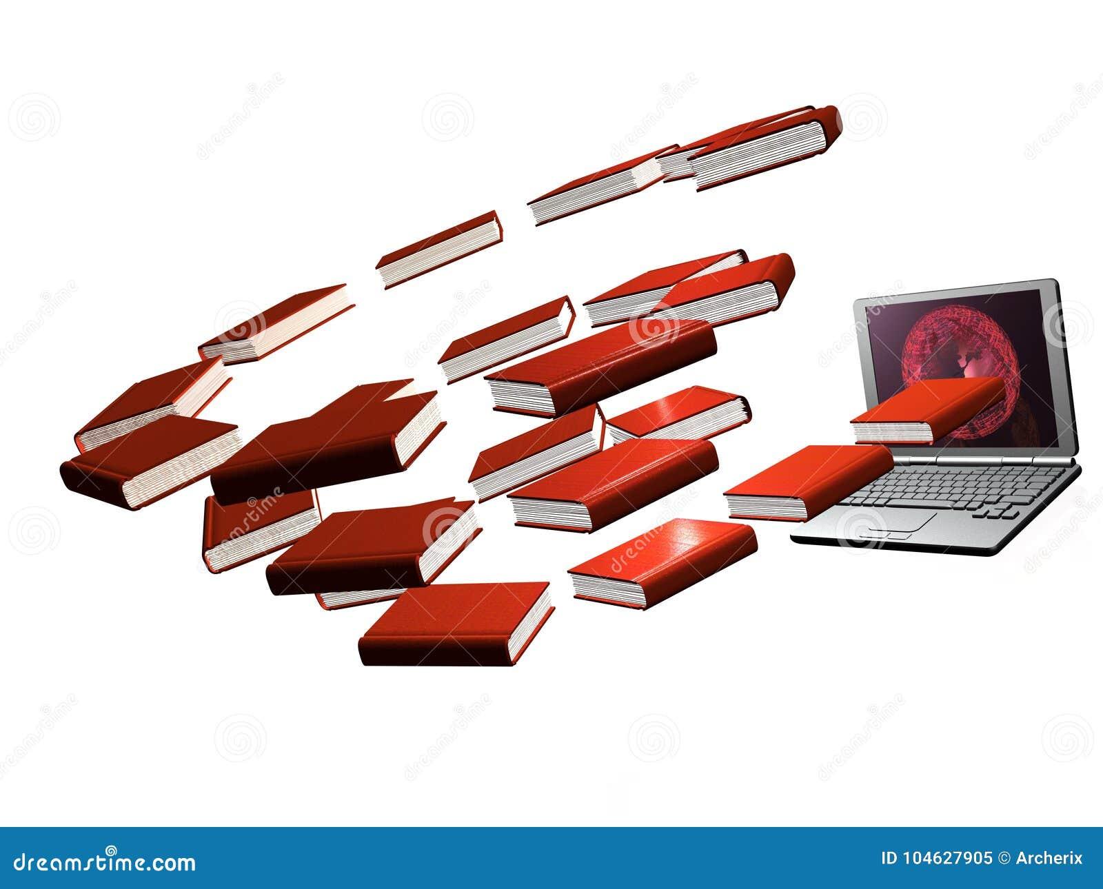 Download Boeken en laptop stock illustratie. Illustratie bestaande uit laptop - 104627905