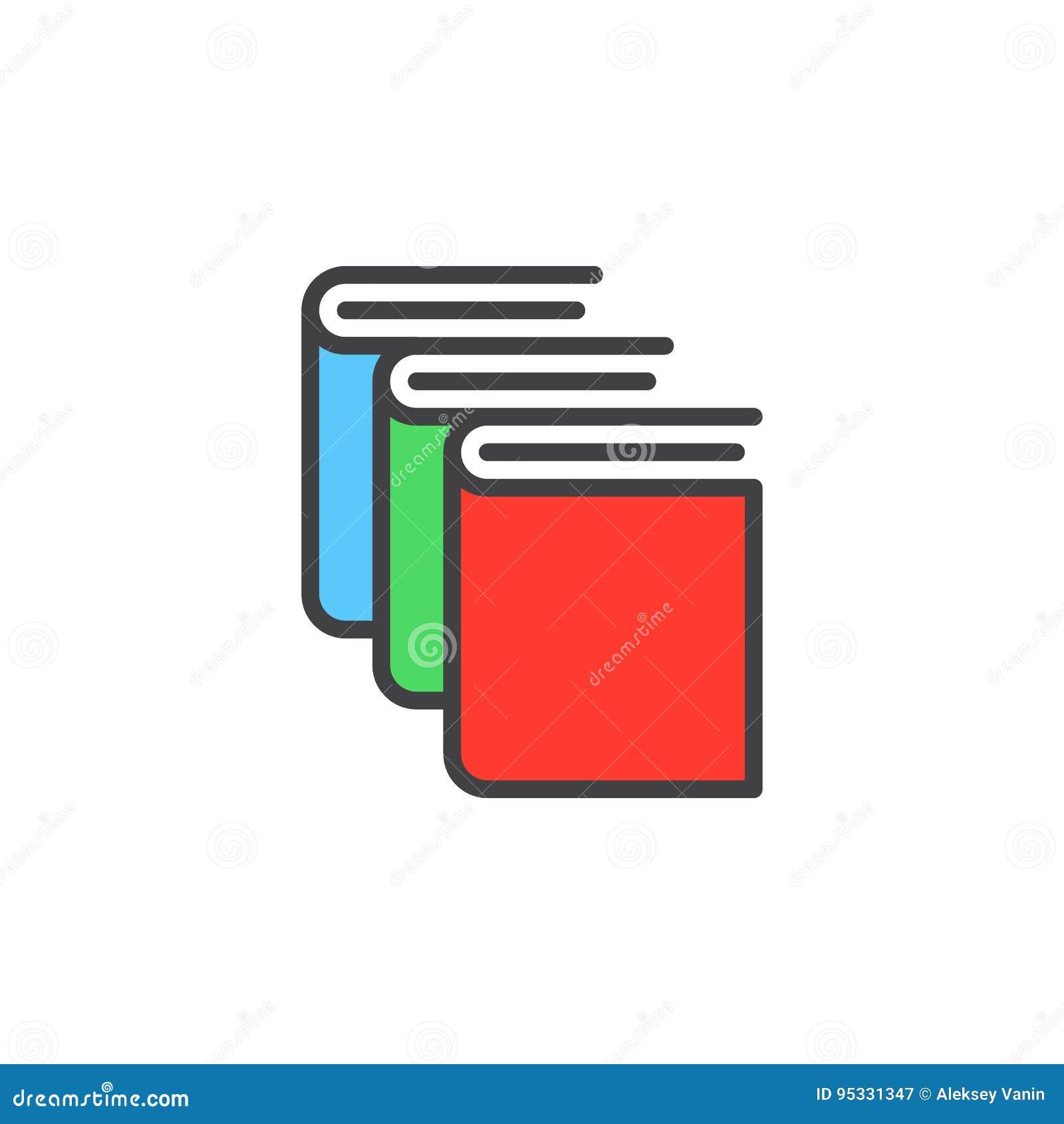Boeken, het pictogram van de bibliotheeklijn, gevuld overzichts vectorteken, lineair kleurrijk die pictogram op wit wordt geïsole