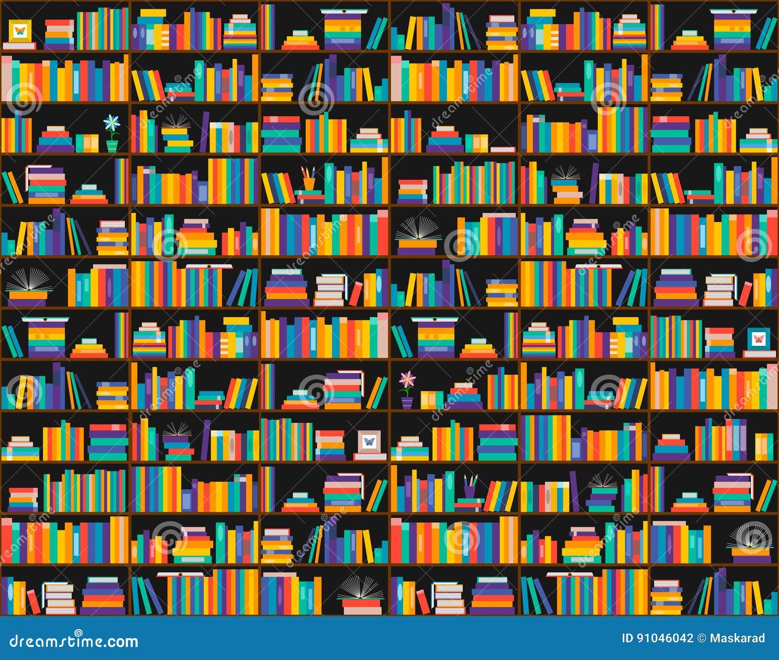 Boeken Op Planken, Naadloos Patroon Boekenkast, Bibliotheek Stock ...