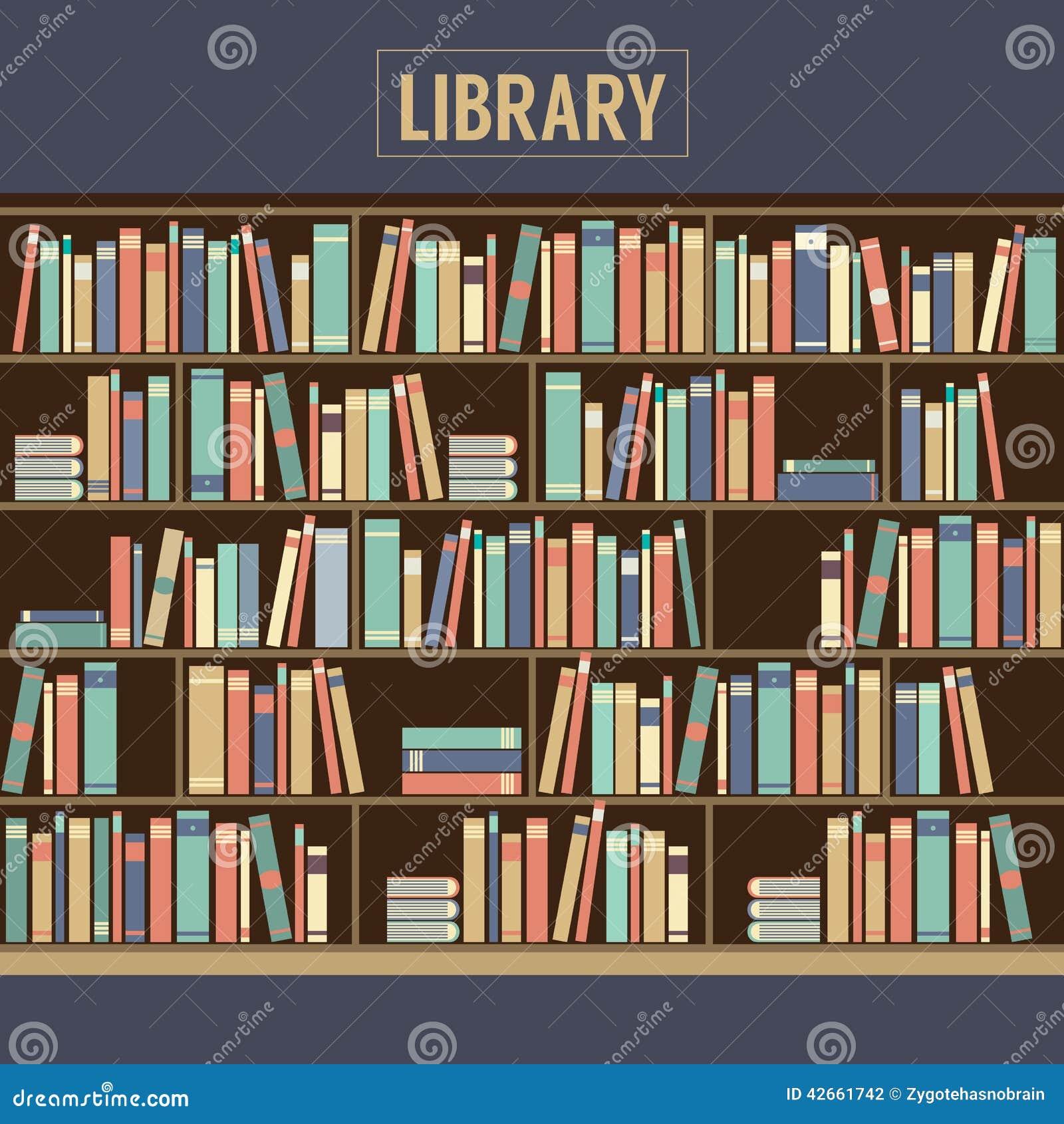 Boekenkast in Bibliotheek vector illustratie. Illustratie bestaande ...
