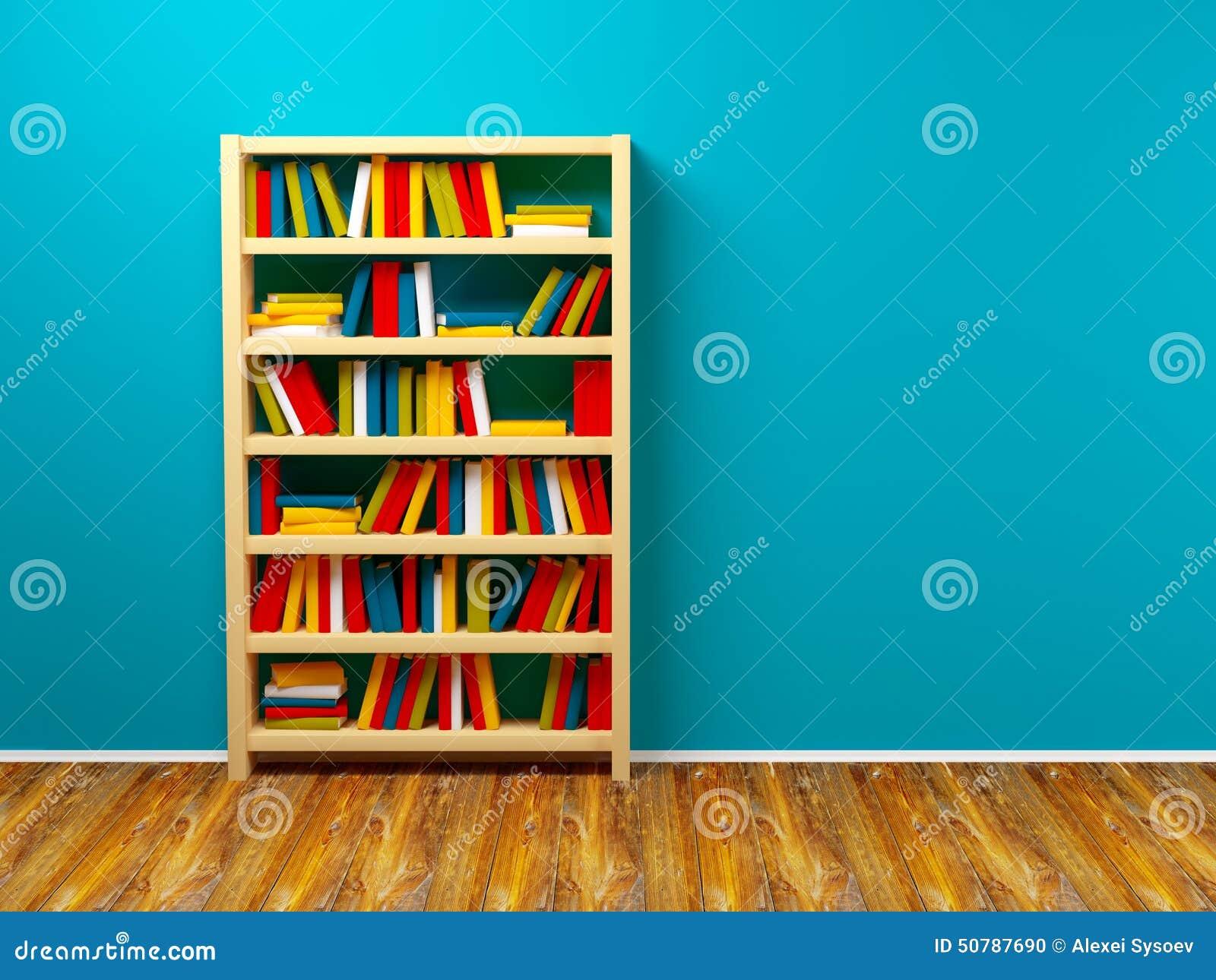 Boekenrek Tegen Muur.Boekenkast Blauwe Muur Stock Illustratie Illustratie Bestaande Uit
