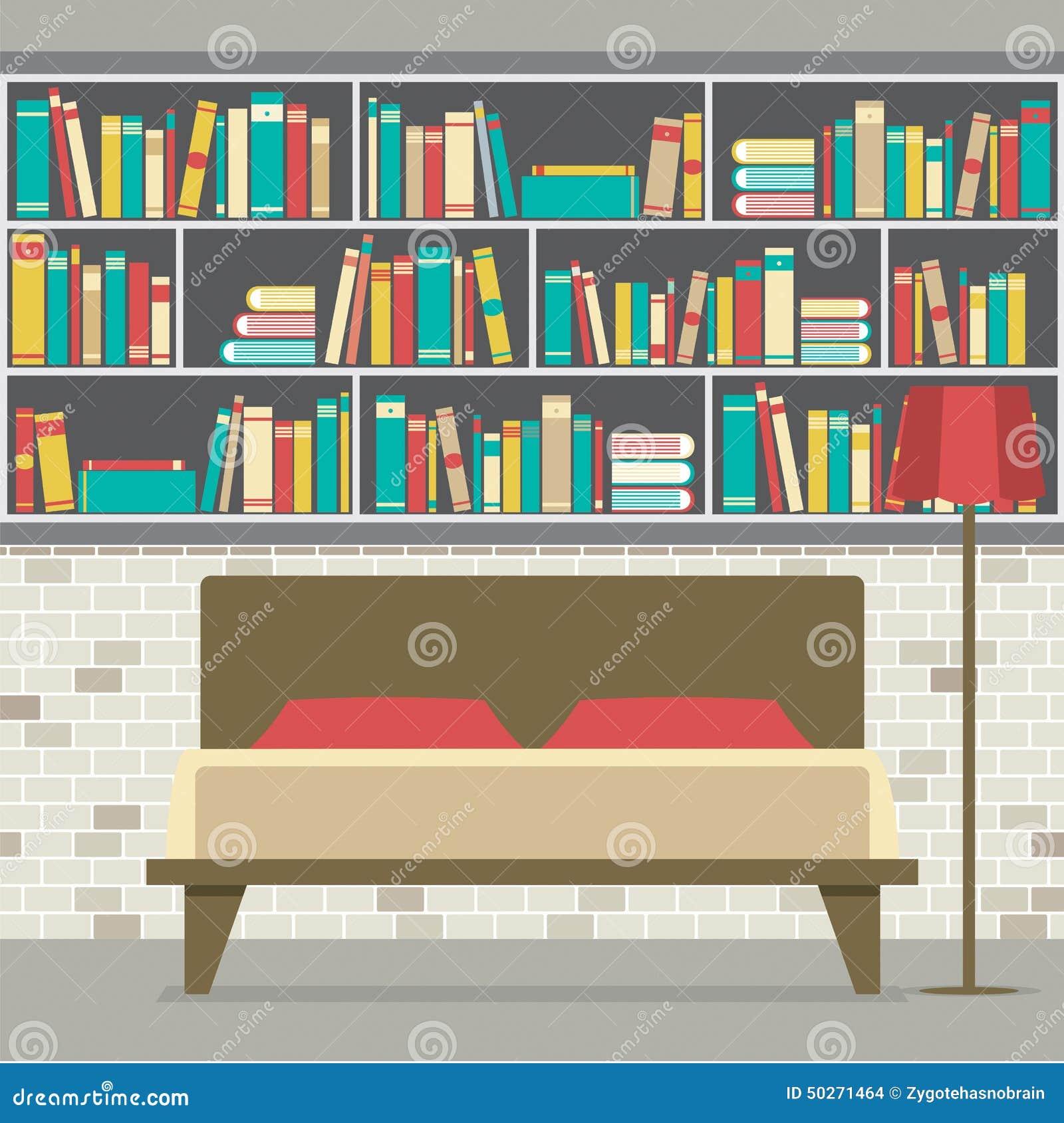 download boekenkast in het slaapkamer vlakke ontwerp vector illustratie illustratie bestaande uit tribune hoofdkussen