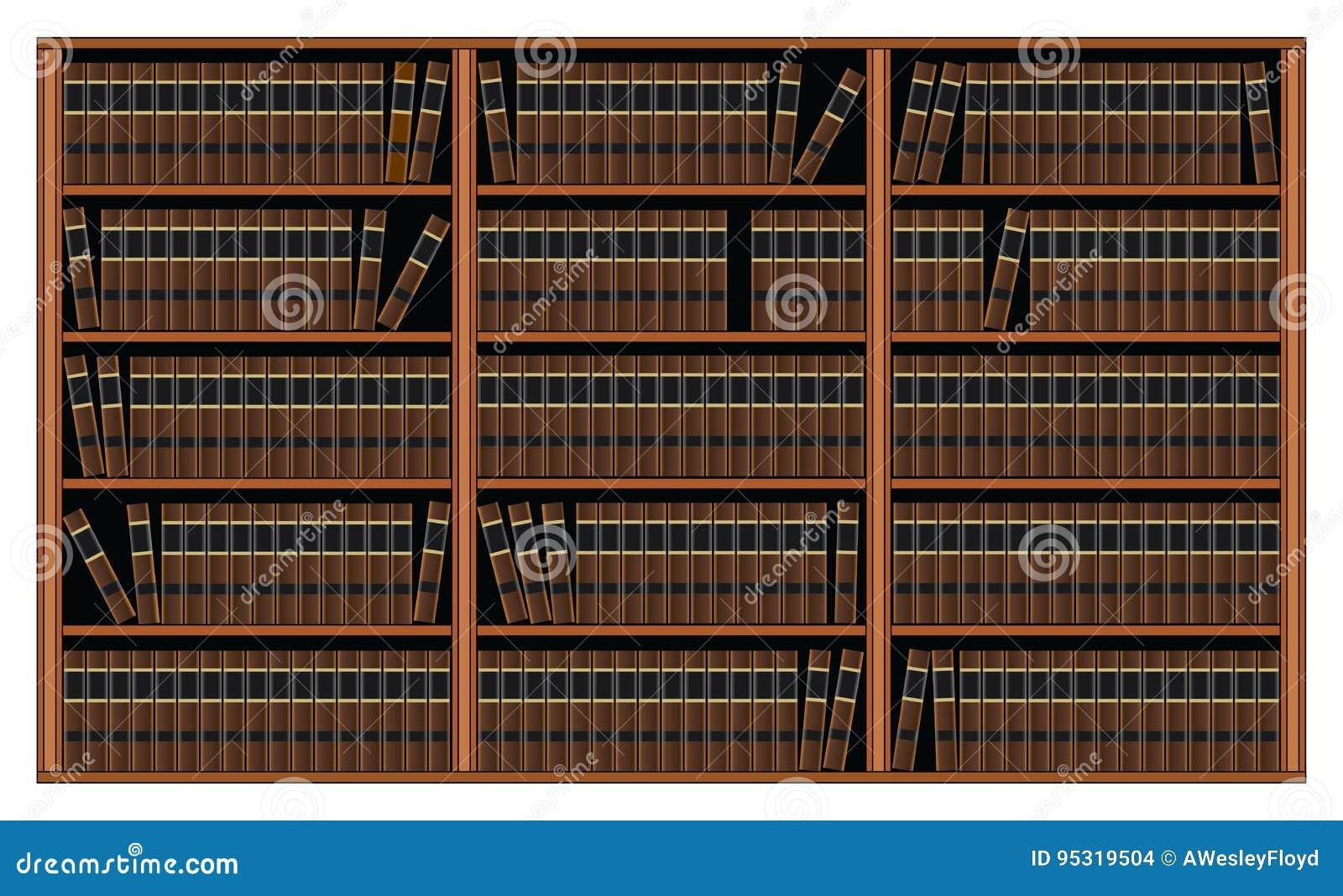 Boekenkast Met Boeken - Bibliotheek Vector Illustratie - Illustratie ...