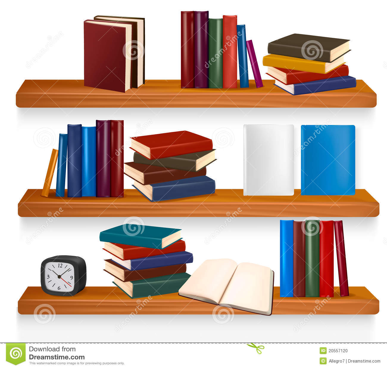Boekenrek met boeken. Vector