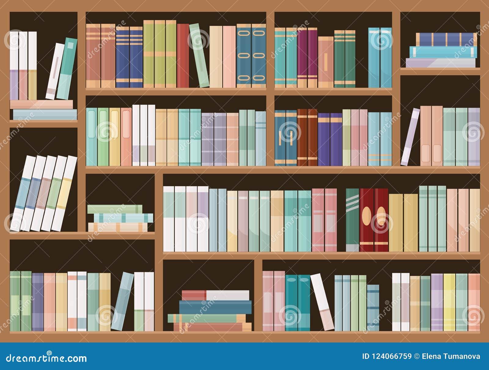 Boekenrekkenhoogtepunt van boeken Van de onderwijsbibliotheek en boekhandel concept